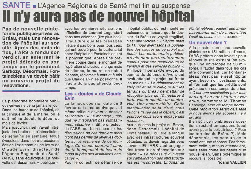 Hopital - abandon du projet - La République de Seine et Marne - 07042013