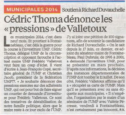 Le Parisien - C Thoma dénonce les pressions de Valletoux - 02072013