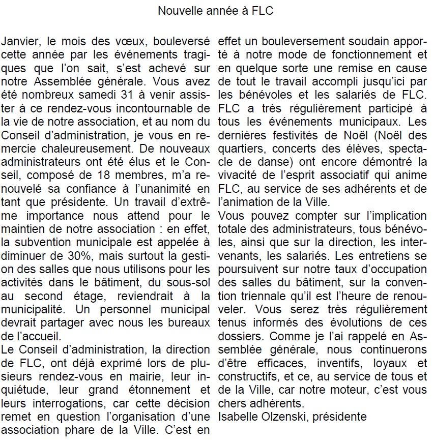 edito janvier flc