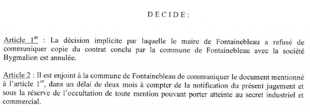 Jugement du Tribunal Administratif - 5 juin 2015